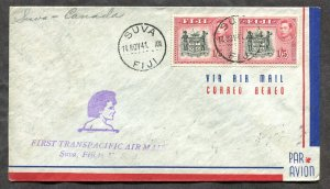 p117 - FIJI 1941 First Flight Cover to CANADA
