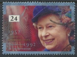 GB  SC# 1440 Anniversary Accession 1992  SG 1606  Used   as per scan