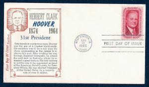 UNITED STATES FDC 5¢ Herbert Hoover 1965 KholKraft