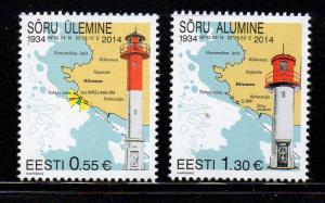 Estonia Sc 771-2 2014  Soru Lighthouses stamp set mint NH