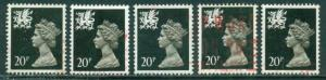 GREAT BRITAIN WALES SG-W52, SCOTT # WMMH-38, USED, 5 STAMPS, GREAT PRICE!