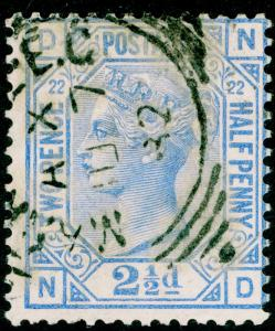 SG157, 2½d blue PLATE 22, USED, CDS. Cat £40. ND