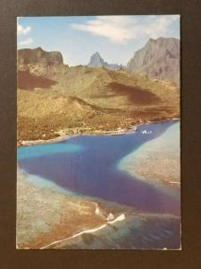1972 Tahiti to Columbus Ohio USA Arial Scenic Island Real Picture Postcard Cover