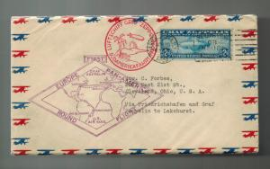 1930 USA Graf Zeppelin Cover Around the World to Cleveland OH # C15