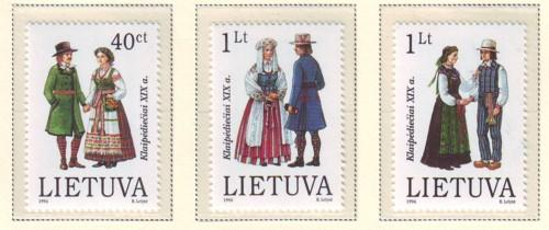 Lithuania Sc 539-41 1996 Folk Costumes stamp set mint NH