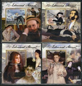 SOLOMON ISLANDS NEVER OFFERED 2012 EDOUARD MANET SET OF 4  DELUXE S/S MINT NH