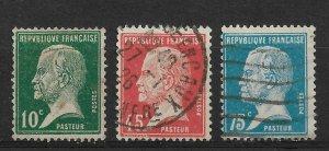 France 1923-24, Louis Pasteur Scott # 185, 190, 192, VF USED (SL-1)