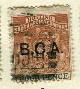 NYASALAND; 1891 early classic B.C.A. Company Optd. issue fine used 4d. value