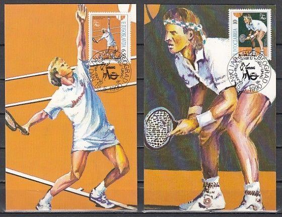 Yugoslavia, Scott cat. 2045-2046. Tennis Players issue on 2 Maximum Cards.