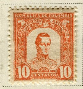 COLOMBIA ANTIOQUIA; 1899 early Bolivar issue Mint hinged 10c. value