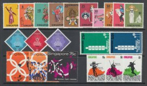 Singapore Sc 86/121 MNH. 1968-70 issues, 5 complete sets, fresh, bright, VF