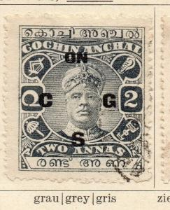 Cochin 1913 Early Issue Fine Used 2a. Optd 322434