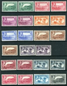 MONTSERRAT-1938-48  A mounted mint set to £1 with perf varieties and additional
