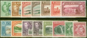 Trinidad & Tobago 1938-44 set of 15 SG246-256 Fine MNH
