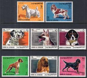 Umm Al Qiwain MI 210A-217A Dogs MNH VF