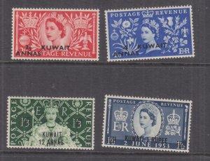 KUWAIT 1953 on GB, Coronation set of 4, lhm.