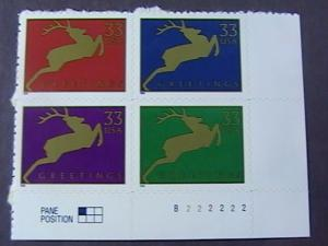 U.S.# 3356-3359-MINT/NEVER HINGED-LR PLATE# BLOCK OF 4(P#222222)-CHRISTMAS--1999