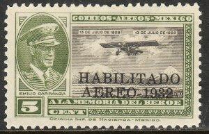 MEXICO C40, CAPT. E. CARRANZA HABILITADO 1932.UNUSED, H OG. F. (646)