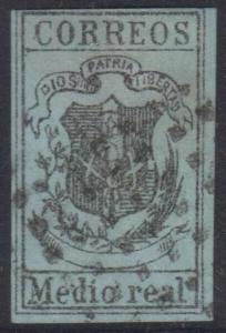 DOMINICAN REPUBLIC 1870-73 COAT OF ARMS Medio real BOGUS BLACK ON PALE GREEN