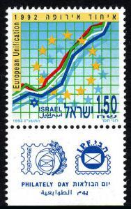 Israel 1129 tab, MNH. European Unification, 1992