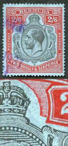 Bermuda SG89gb KGV 2/6 Key Plate Black and Red/Blue Broken Crown and Scroll