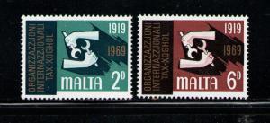 MALTA 1969 MNH SC.398/399 ILO 50th