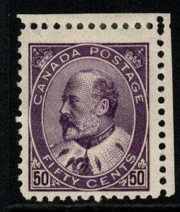 CANADA SG187 1908 50c DEEP VIOLET MTD MINT