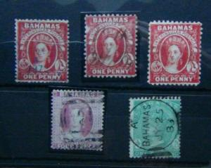 Bahamas 1863 1d Red x 3 4d Venetian Red 1s Green Used