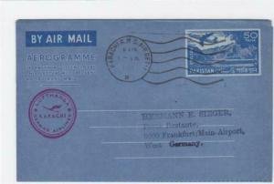 Pakistan 1965 Lufthansa flight aerogramme to Germany     ref R20028