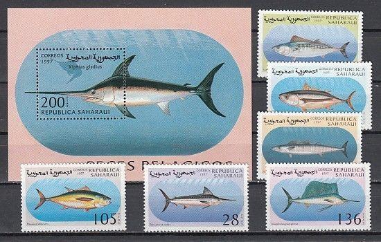 Sahara, 1997 issue. Large Game Fish set & s/sheet.