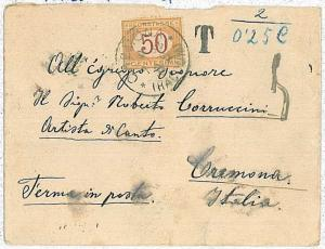 AUSTRIA  -  POSTAL HISTORY - COVER : TRIESTE to CREMONA - Taxed on arrival 1892