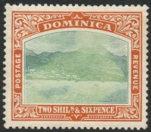DOMINICA-1908 2/6 Grey-Green & Maize Sg 45 MOUNTED MINT V46273