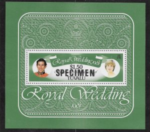 TUVALU 1981 ROYAL WEDDING M/sheet Overprinted SPECIMEN