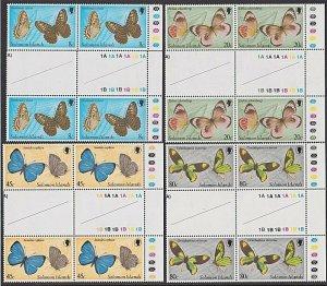 SOLOMON IS 1980 Butterflies set gutter plate blocks of 4 MNH................Q426