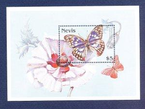 NEVIS - Scott 1019 -  FVF MNH S/S - butterfly, flower - 1997