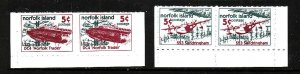 Norfolk Island-Sc#670-1-two unused NH pairs from the booklet panes-Planes-1999