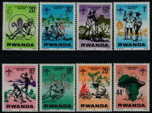 Rwanda 849-56 MNH Scouts, Boat, Lord Baden-Powell