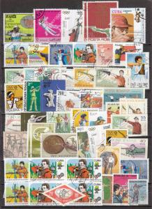 Sports,Olympic Games - Shooting 48 small stamp lot - (2348)