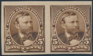 #223TC1 TRIAL COLOR PROOF ON GLOSSY WOVE PAPER, F-VF OG HR PAIR CV $800 BP4057