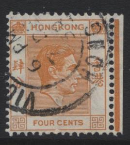 Hong Kong - Scott 156 - KGVI Definitive Issue- 1938 - FU - Single 4c Stamp