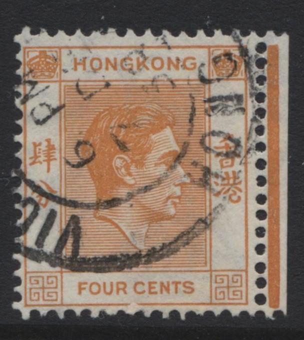Hong Kong - Scott 156 - KGVI Definitive Issue- 1938 - FU - Single 4c Stamp