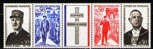 France 1971 ,  MNH Strip 1st anniv.of death of Charles de Gaulle # 1325a