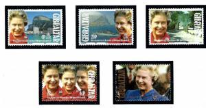 Gibraltar 1992 , MNH set Ruby Jubilee # 605-609