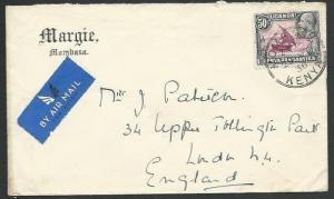 KENYA UGANDA TANGANYIKA 1936 cover Mombassa to UK..........................61014
