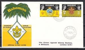 Bahamas, Scott cat. 267-268. Boy Scouts Diamond Jubilee issue. First day cover.