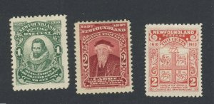 3x Newfoundland MH Stamps #62-2c F/VF #87-1c VF #88-2c VF Guide Value = $30.00