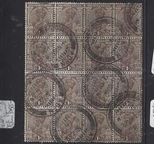 ADEN  (P2109B) KGV 1A  BL OF 16  SON CDS  ADEN   VFU