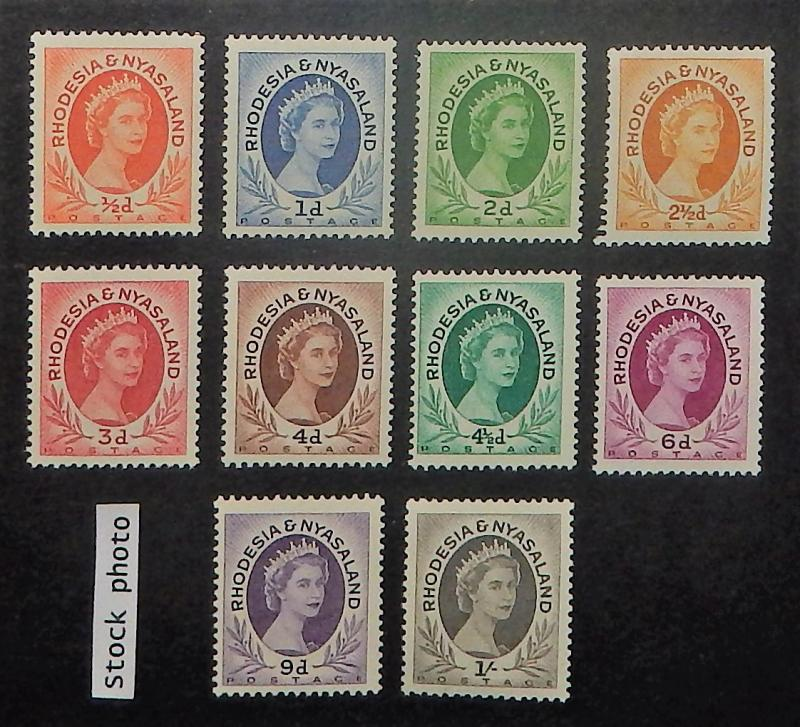 Rhodesia and Nyasaland 141-49. 1954-56 1/2p - 1/- QE, NH