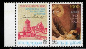 VATICAN Scott 916 MNH** St Francis stamp with label 1993