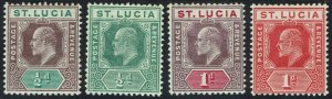 ST LUCIA 1904 KEVII 1/2D AND 1D BOTH COLOURS WMK MULTI CROWN CA